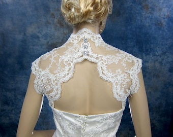 Sleeveless bridal shrug lace bolero jacket wedding bolero - keyhole back - available in white and ivory