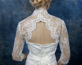 Sale-3/4 sleeve bridal bolero bridal jacket bridal alencon lace bolero jacket wedding bolero jacket keyhole back white and ivory-was 129.99