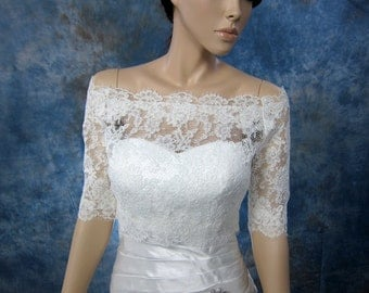 Sale- Off-Shoulder Alencon Lace wedding jacket Bolero shrug bridal jacket - was 129.99