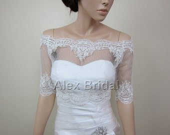 Sale - Off-Shoulder dot Lace bolero jacket Bridal Bolero Wedding jacket wedding bolero with alencon lace trim-was 129.99