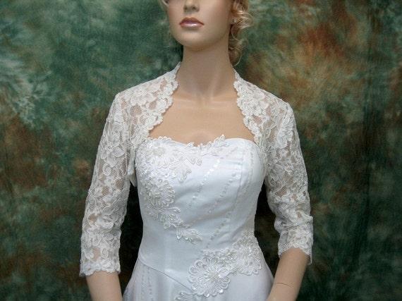 Ivory 3/4 sleeve bridal corded lace wedding bolero by alexbridal