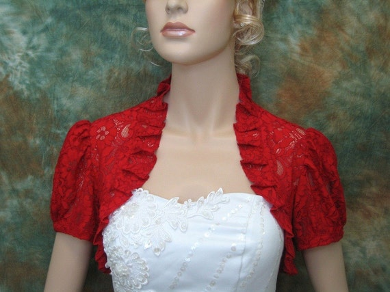 Red short sleeve corded lace wedding bolero jacket by alexbridal