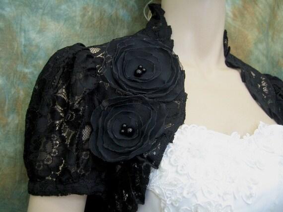 Black short sleeve corded lace wedding bolero jacket shrug