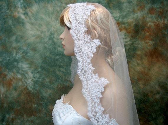 Mantilla bridal wedding veil alencon lace white fingertip