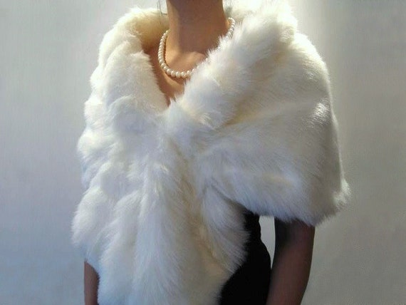 White faux fur bridal wrap shrug stole shawl cape A001-White