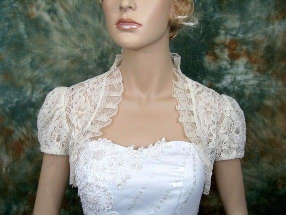 Short sleeve corded lace wedding bolero jacket shrug --- available in ivory, off-white and white