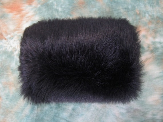 Black faux fur winter wedding muff