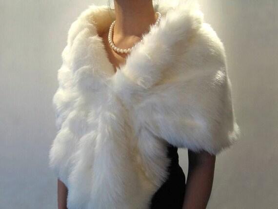 Ivory faux fur wrap bridal wrap faux fur shrug faux fur stole faux fur shawl faux fur cape A001