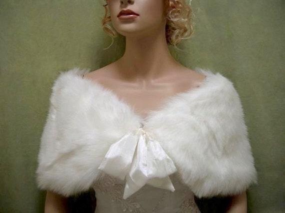 Ivory faux fur shawl faux fur wrap faux fur shrug faux fur stole C002