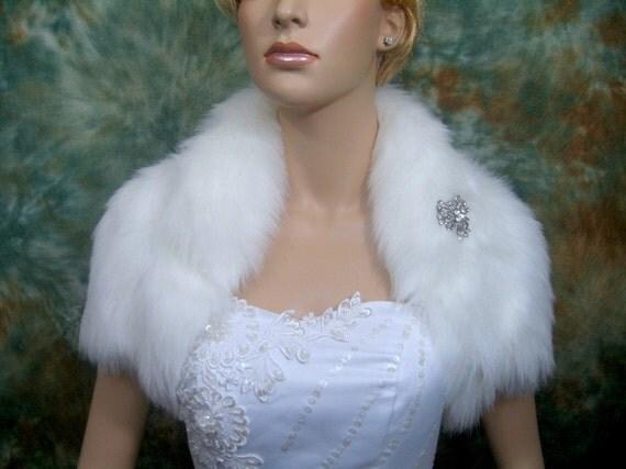 White faux fur bolero faux fur shrug FB003-White