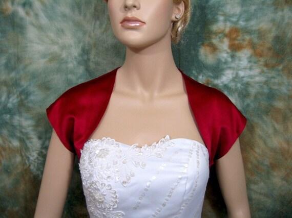 Wine red sleeveless satin wedding bolero jacket shrug