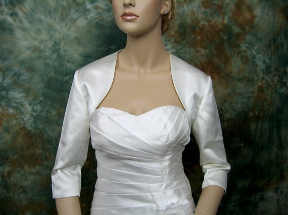 3/4 sleeve satin bolero wedding bolero jacket shrug - available in ivory and white