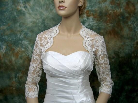 Sale-3/4 sleeve bridal shrug re-embroidered lace bolero wedding bolero jacket bridal bolero Available in ivory and white-was 99.99