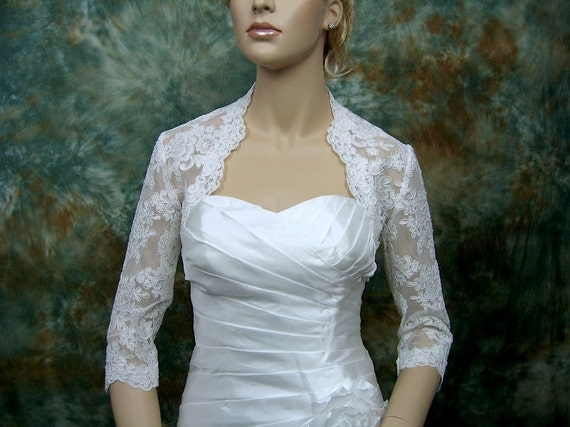 White 3/4 sleeve bridal alencon lace wedding bolero jacket