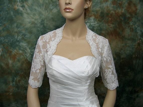 Elbow length sleeve bridal alencon lace wedding bolero jacket - available in ivory and white