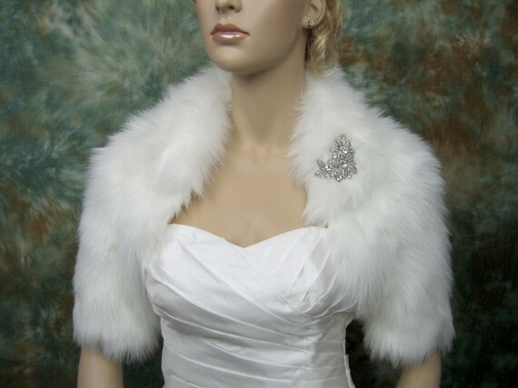 Sale - Ivory faux fur bolero jacket shrug Wrap FB005-Ivory - was 89.99