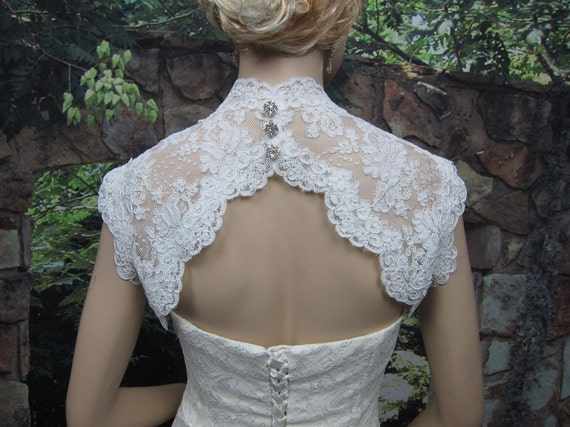 Ivory sleeveless bridal shrug lace bolero jacket wedding bolero - keyhole back - alencon lace