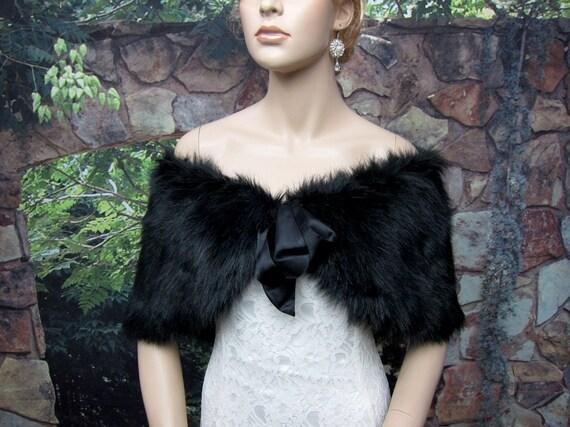 Custom listing for 2 Black faux fur bridal wrap shrug stole shawl Cape C002-Black