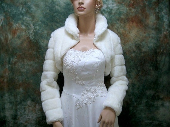 Off-White faux fur long sleeve jacket shrug bolero FB001-OffWhite