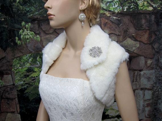 Ivory bridal faux fur shrug stole shawl wrap FS003-Ivory