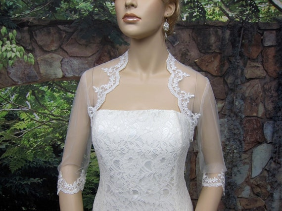 Sale - 3/4 sleeve bridal shrug lace bolero wedding bolero jacket alencon lace shrug wedding jacket wedding shrug-was 59.99