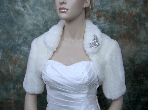 Sale - Off-white faux fur bolero jacket shrug Wrap FB004-OffWhite - was 89.99