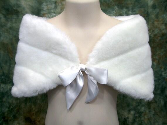 For Flower girl - Off-white faux fur bridal wrap shrug stole shawl FW002F-OffWhite