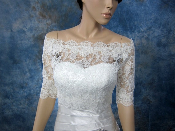 Bridal bolero, Off-Shoulder, lace bolero, wedding bolero, wedding jacket, lace shrug, bridal jacket, bridal lace topper, Alencon Lace