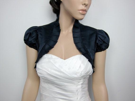 Navy Blue short sleeve satin wedding bolero jacket shrug