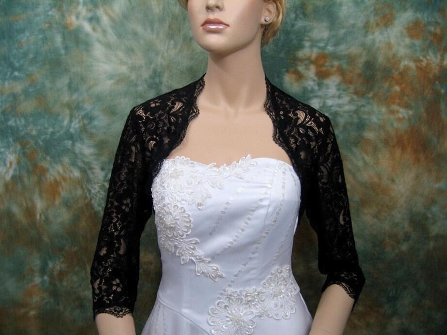3 4 sleeve black lace bolero jacket bridal bolero bridal for Black lace jacket for wedding dress