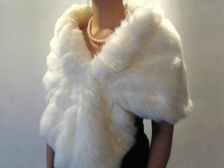 Ivory faux fur wrap bridal wrap faux fur shrug faux fur stole - Stoel fur ...