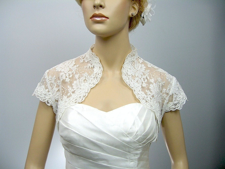 Ivory cap sleeve bridal shrug alencon lace bolero wedding for Wedding dress lace bolero
