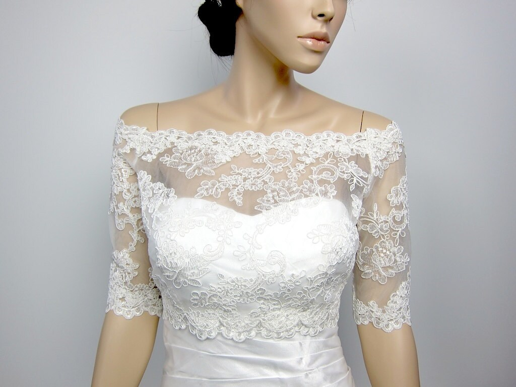 Off shoulder alencon lace bolero jacket bridal bolero wedding for Wedding dress lace bolero