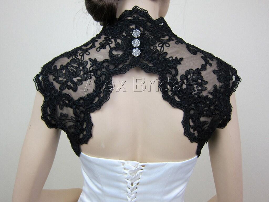 Black Sleeveless Bridal Shrug Lace Bolero Jacket Wedding