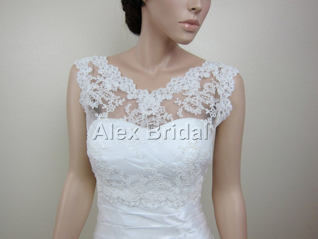 V neck re embroidered lace bolero jacket bridal bolero wedding for Wedding dress lace bolero