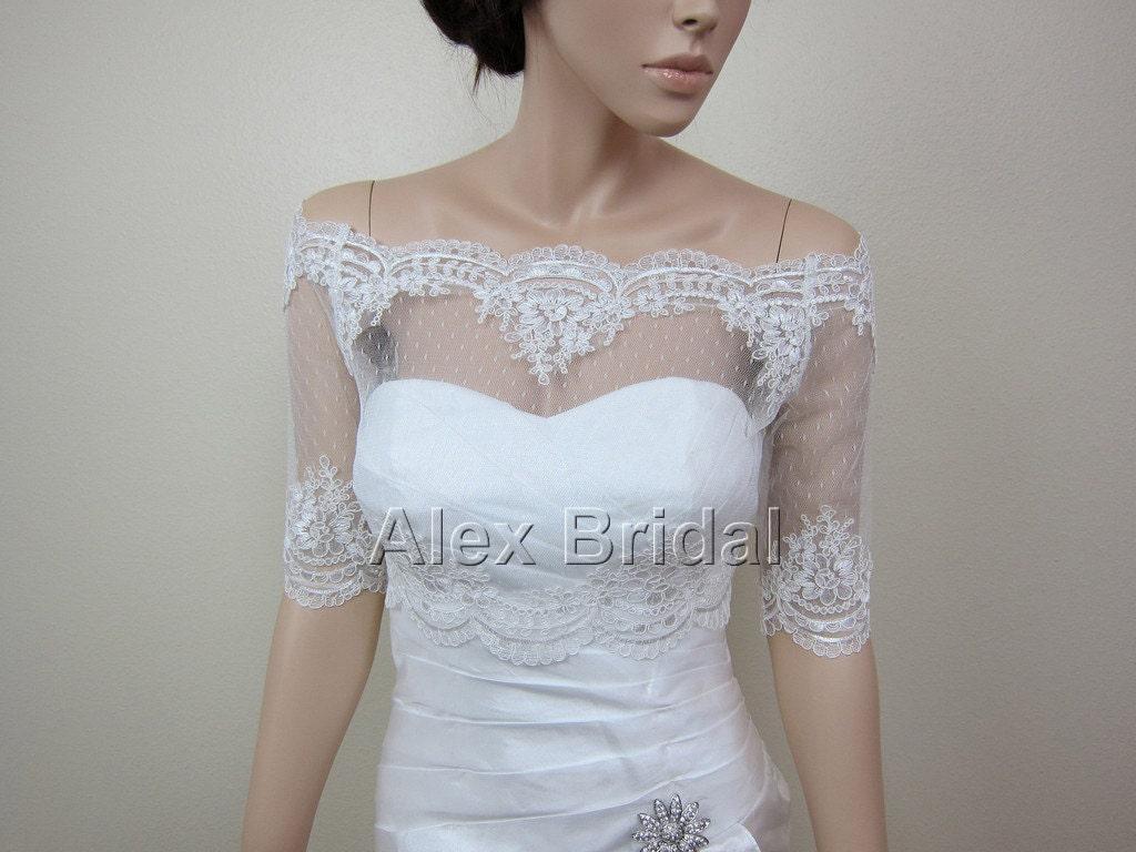 Sale off shoulder dot lace bolero jacket bridal bolero etsy for Lace shrugs for wedding dresses