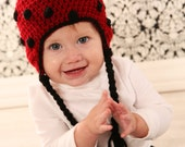 Lady Bug Earflap Hat Crochet Pattern(baby to adult sizes)Permission to sell finished items.Photo prop