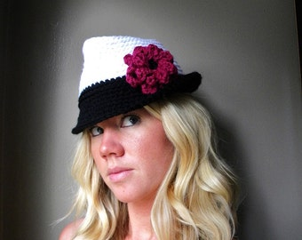Fashion Fedora Crochet Pattern-  Permission to sell finished items.Immediate PDF file download.