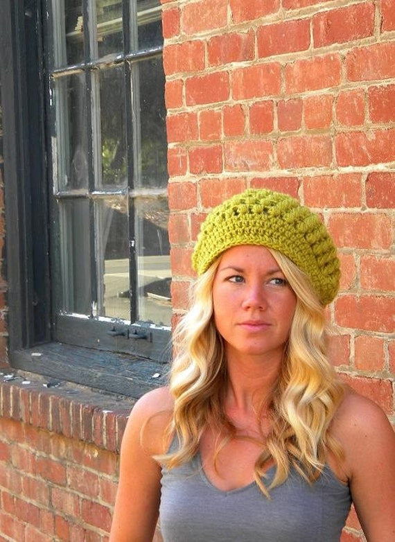 Slouch Bubble Beret Crochet Pattern.-Permission to sell finished items.