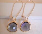 Amethyst Purple Glass Gold Kidney Earrings - Best Friend, Sister, Mother, Bridesmaid Jewelry