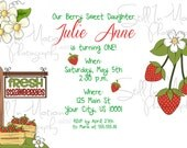 Printable Strawberry Theme Personalized Birthday Invitations DIGITAL JPG FILE