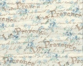 LA PROVENCE soft  muslin rubber stamped french blue floral ... 103 . ....oohlala
