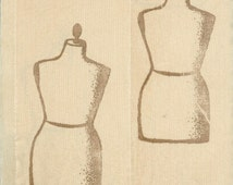dressmaker form. soft  muslin rubber stamped tea dyed ribbon 2.75 wide . ... 146 . ....oohlala
