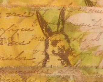 french script rabbit ribbon shabby rubber stamped muslin ... 52 . ....oohlala