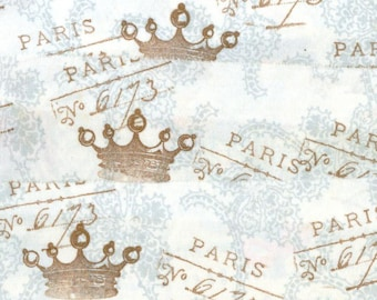 crown  handmade blue on white  with vintage Paris script rubber stamped muslin fabric ribbon .. 90-11....oohlala