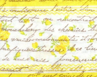 "yellow cottage roses with vintage french script  rubber stamped muslin fabric ribbon  4"" wide... 96 . ....oohlala"