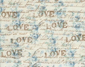 LOVE, vintage french script, french blue floral fabric rubber stamped ribbon1. inch wide (item 74