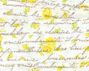 "FRENCH SCRIPT soft  muslin rubber stamped yellow floral  ribbon, 2"" . ... 105 . ....oohlala"