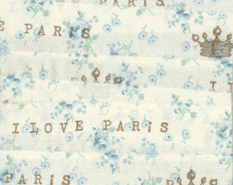 crown Paris ribbon handmade blue  white  rubber stamped muslin fabric   ... 76 . ....oohlala