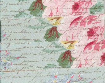 4.5 yards pink  roses  ,muslin  hand made, handmade floral rubber stamped french script ribbon chic shabby,wedding1.5 inches wide (item 192